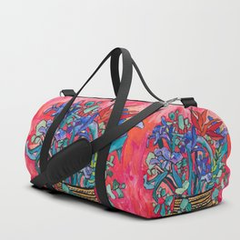 Persephone Painting - Bouquet of Iris and Strelitzia Flowers in Greek Horse Vase Against Coral Pink Duffle Bag