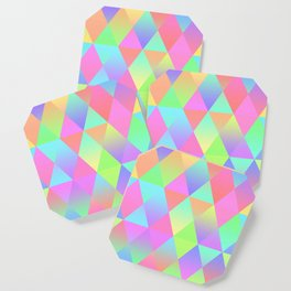 Colorful Geometric Pattern Prism Holographic Foil Triangle Texture Coaster