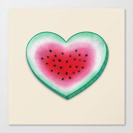 Summer Love - Watermelon Heart Canvas Print