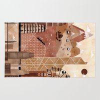 travel poster Area & Throw Rugs featuring Hong Kong Travel Poster Illustration by ClaireIllustrations