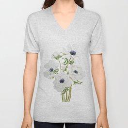 white anemone flower  watercolor painting Unisex V-Neck