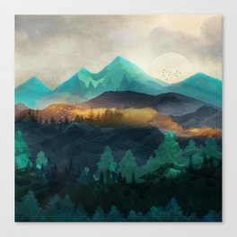Green Wild Mountainside Canvas Print