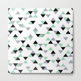 Triangles Mint Grey Metal Print