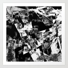 Fractured Black And White - Abstract, textured, black and white artwork Art Print