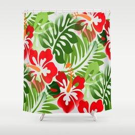 Hawaiian Flowered Shirt Pattern Red Green Shower Curtain