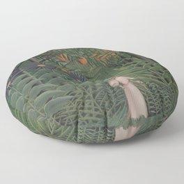 Henri Rousseau - Woman Walking in an Exotic Forest - Minimalist Art Poster Series Floor Pillow