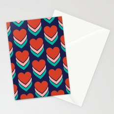 Sweethearts (Red, Pink & Turquoise on Dark Blue) Stationery Cards