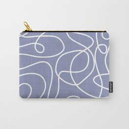 Doodle Line Art | White Lines on Dusty Purple Carry-All Pouch
