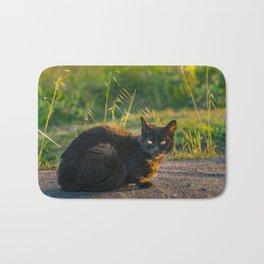 Adult Black Cat at Park Bath Mat
