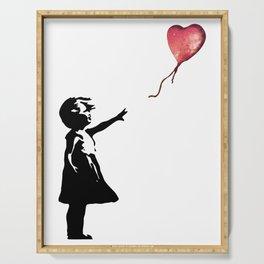 Banksy cosmic balloon Serving Tray