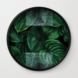 tropical green pattern on black Wall Clock