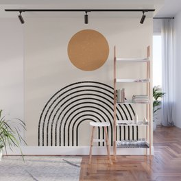 Black Nesting Rainbow Rings Circles Geometric Pattern  Wall Mural