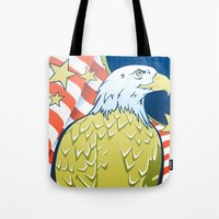 patriotic Tote Bags featuring Patriotic Eagle by whiterabbitart