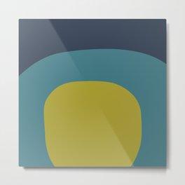 Miracle Rock in Yellow & Blue _Block Colour Metal Print