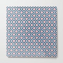 Navy Blue and Coral Diamond Ikat Pattern Metal Print