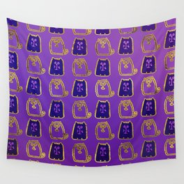 Cute whimsical Gold and purple Cat Pattern Wall Tapestry