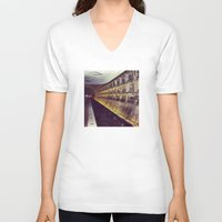 subway V-neck T-shirts featuring Subway by wendygray