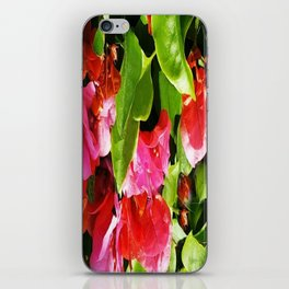 Vibrant pink and red flowers iPhone Skin