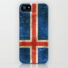 Vintage Aged and Scratched Icelandic Flag iPhone Case