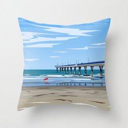 New Brighton Pier, Christchurch, NZ Throw Pillow
