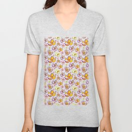 Cute Bright Floral Print Unisex V-Neck