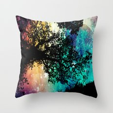 Black Trees Colorful Space Throw Pillow