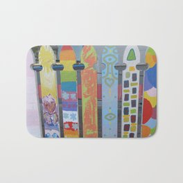 Abstract Vintage Picketfence Bath Mat
