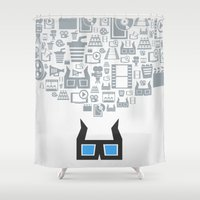 cinema Shower Curtains featuring Cinema by aleksander1