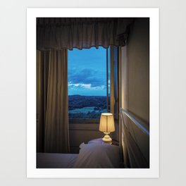 Panoramic view of the rolling hills of Chianti through a window at sunset Art Print