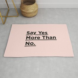 Say Yes More Than No motivational typography poster design home wall bedroom decor Rug