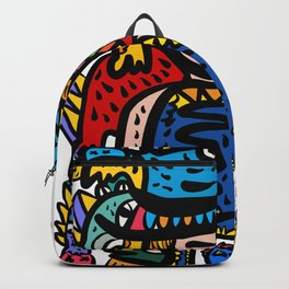 Aztec Kid with is Happy Graffiti Art Creatures by Emmanuel Signorino Backpack