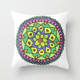 Bright colors mandala Throw Pillow