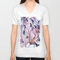 magnolia V-neck T-shirts featuring magnolia by Eva Lesko