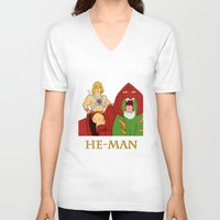 he man V-neck T-shirts featuring He-Man by Dano77