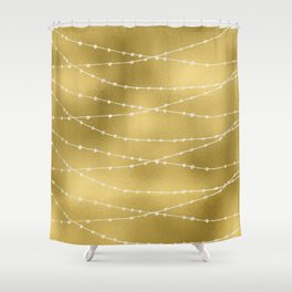Merry christmas- white winter lights on gold pattern Shower Curtain