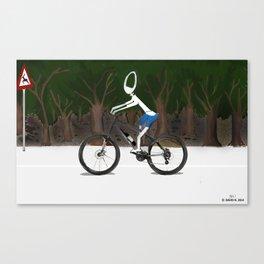 Corky's riding a bike Canvas Print