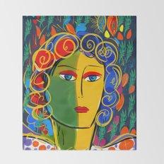 The Green Yellow Pop Girl Portrait Throw Blanket