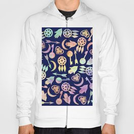 Watercolor and Gold Popular Symbols on Navy Blue Hoody