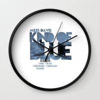 miles davis Wall Clocks featuring Kind Of Blue - Miles Davis / Album Cover Art LP Poster  by FunnyFaceArt