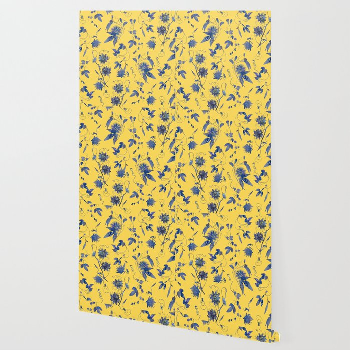 Elegant Blue Pion Flower On Mustard Yellow Wallpaper