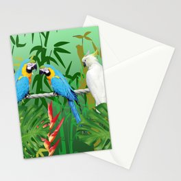 Jungle leaves and Bamboo with Macaw Stationery Cards