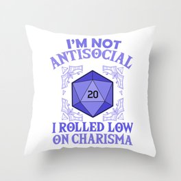 Low On Charisma Tabletop Gaming Gift Dragons D20 Dice Print Throw Pillow