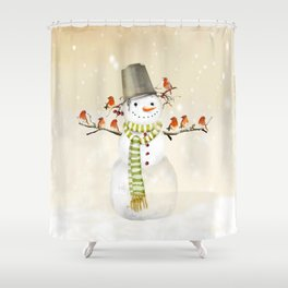 Snowman and Birds Shower Curtain