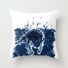 Humpback whale Blue Throw Pillow