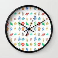 shells Wall Clocks featuring Shells by Louise Kjeldsen