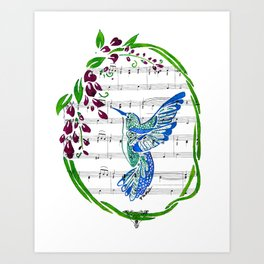 Carrier of Hope (Hummingbird and Wisteria) Art Print