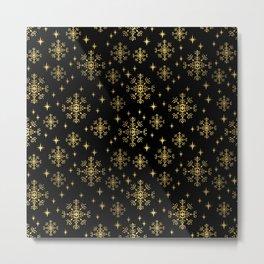 Gold and black snowflakes winter minimal modern painted abstract painting minimalist decor nursery Metal Print