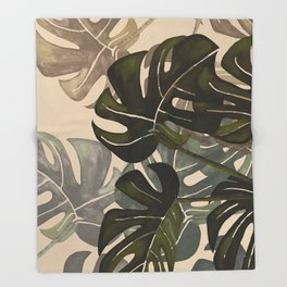 Monstera  III Throw Blanket