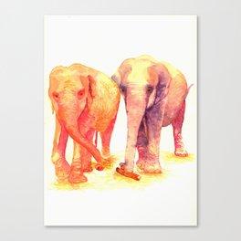 A couple of elephants Canvas Print