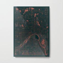 St Paul Map Red Metal Print